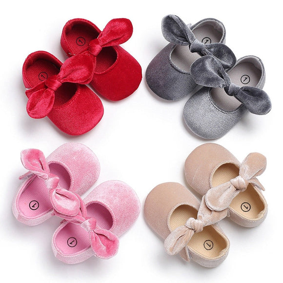 Newborn Baby Girls Infants Butterfly-knt Solid Color Crib Sole Shoes Casual Cute Lovely Prewalker 0-18M First Walkers