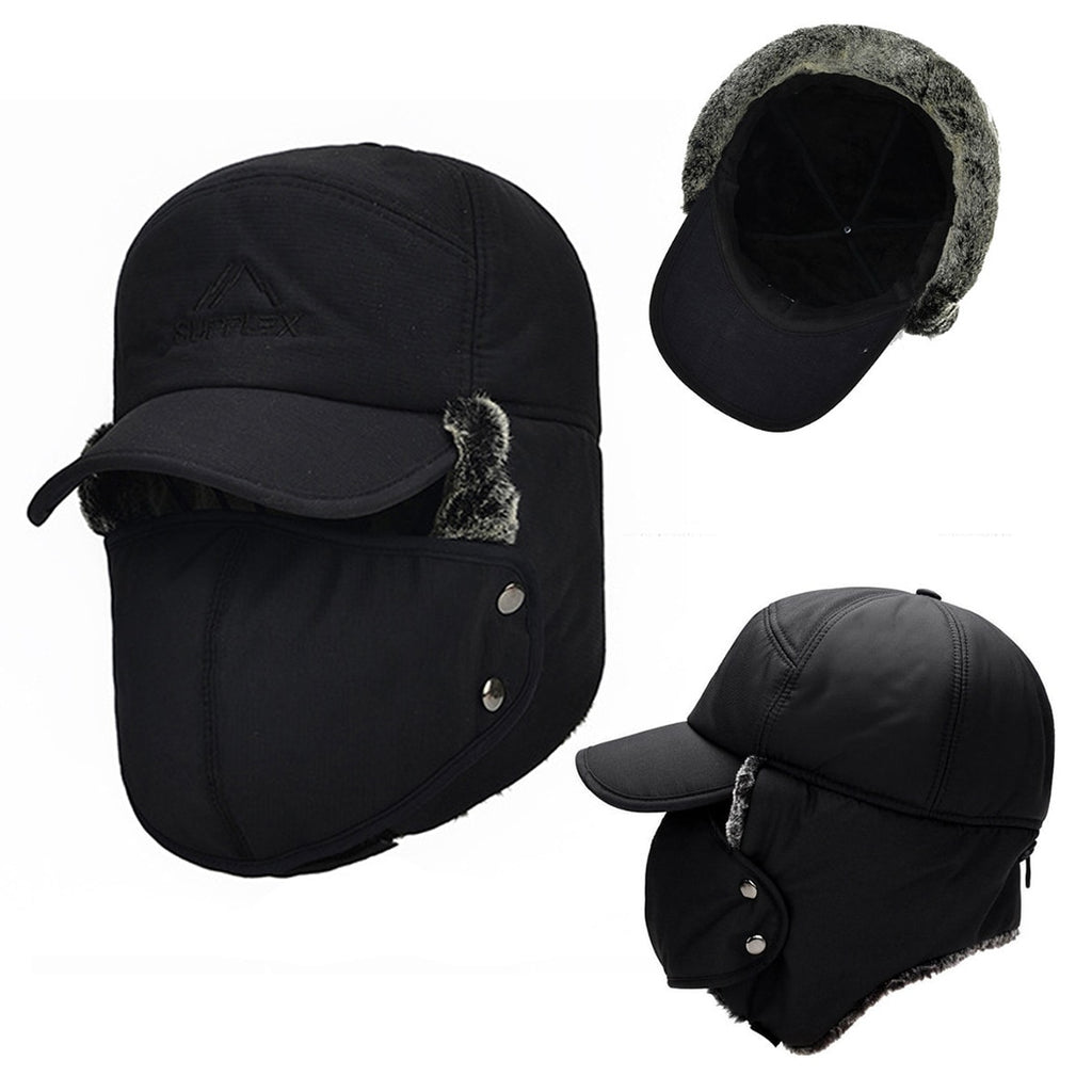 eca6cc2232e Winter Men s Ear Face Protection Bomber Hats Attached Mask Thicker Velvet  Keep Warm Woman Hat The