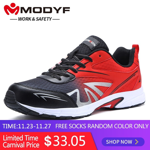 MODYF Men's Safety Shoes Work Steel Toe Anti-sprains Boots Lightweight Breathable Sneaker Casual Footwear