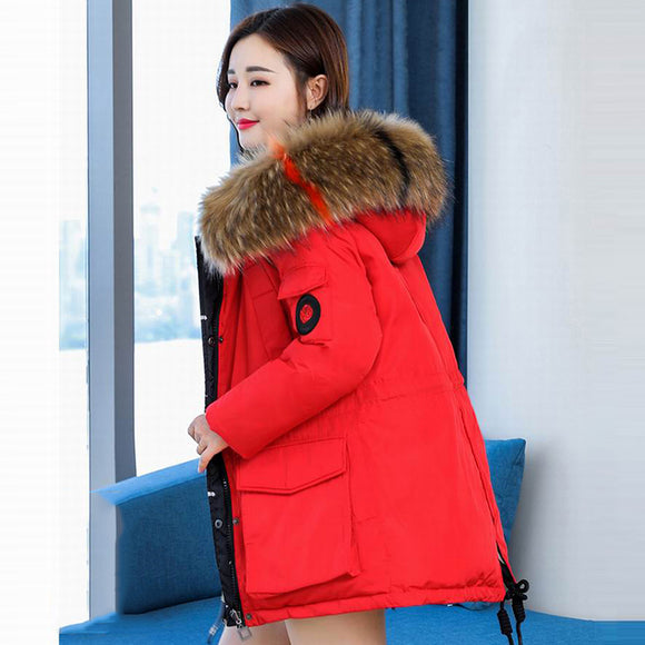 8b7f3cc8651 New 2018 Women s Short Winter Red Jacket Both Side Can Be Wear Design Real Fur  Collar