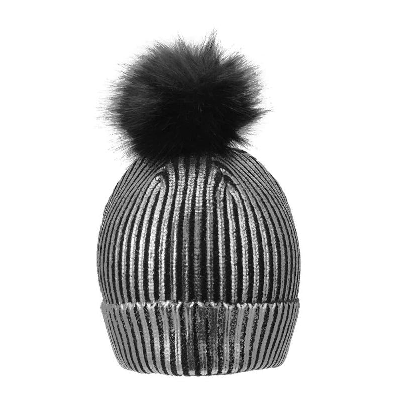 ... New Trendy Women Winter Hat Bronzing Gold Silver Caps with Pompon  Stylish Novelty Hat Thick Knitting 1b8212e11c1