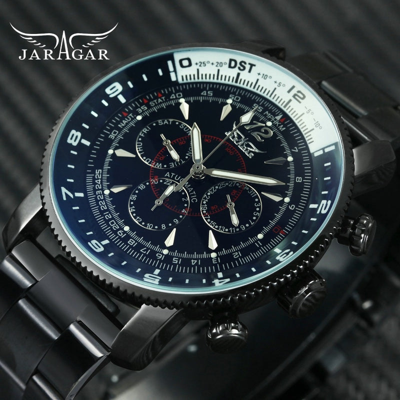 76a4988d391f1 2018 JARAGAR Military Automatic Watch Men 3 Sub-dials 6 Hands Mechanical  Mens Watches Stainless
