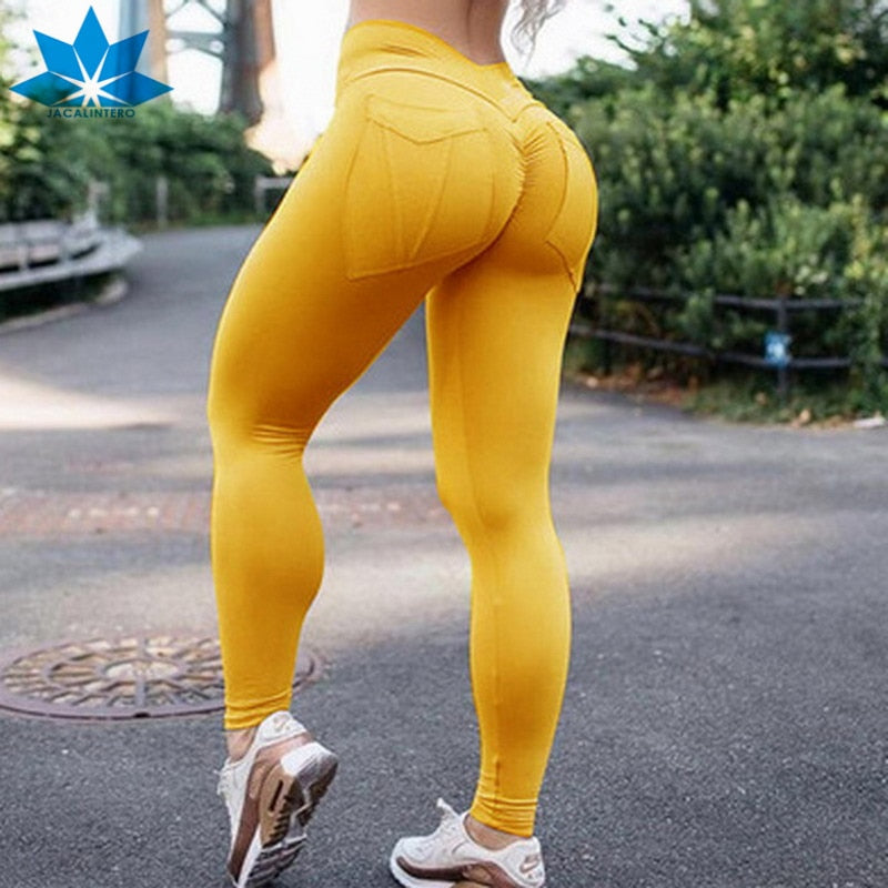 e59a12018f JACALINTERO Gothic Fitness Legging Scrunch Butt Trousers High Waist Women Sexy  Workout Push Up Sports Pants