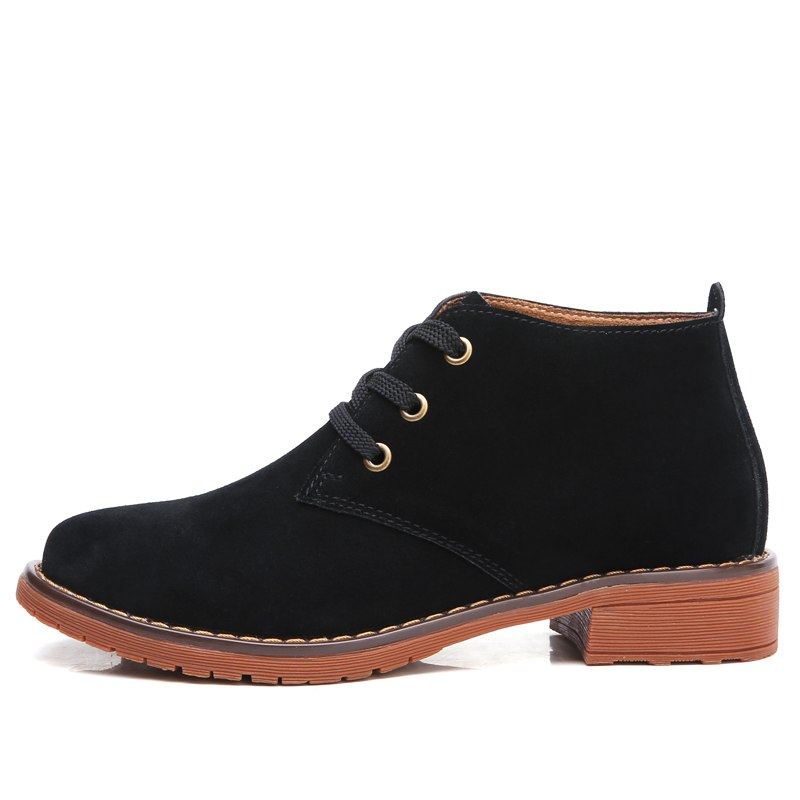 12453127f429 Cow suede Leather Women Martin Boots Ladies Oxford Shoes Genuine Winte
