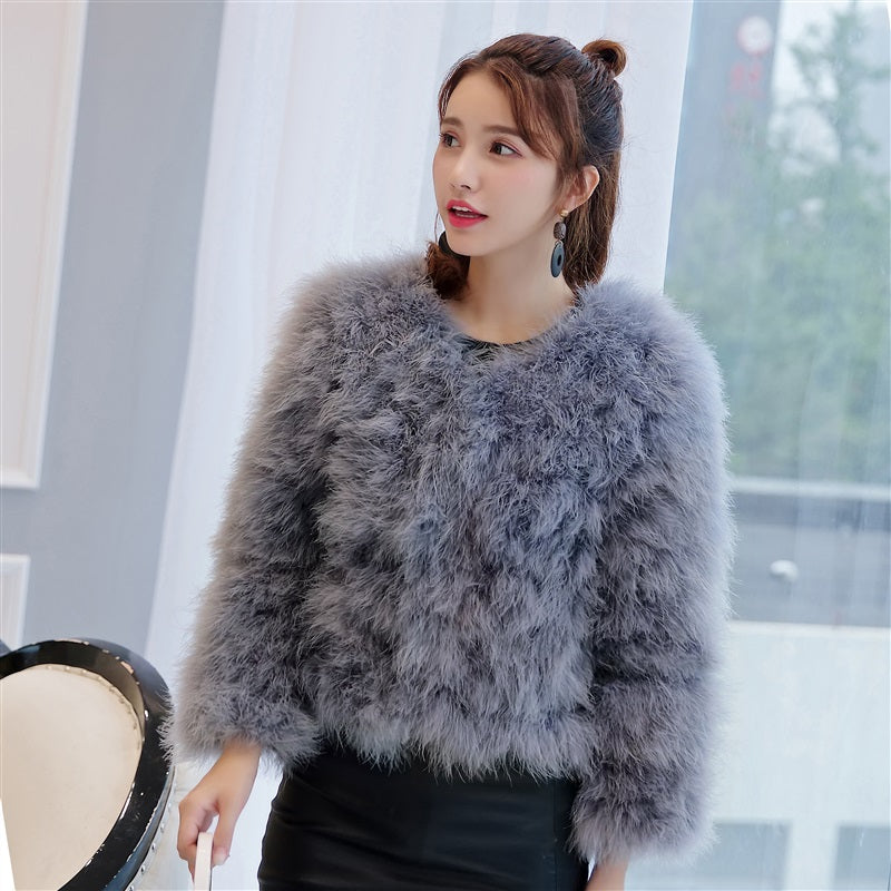 0ad129a212 female ostrich feather jacket spring autumn Real Fur Coat Genuine Turkey Fur  Winter Outwear Retail