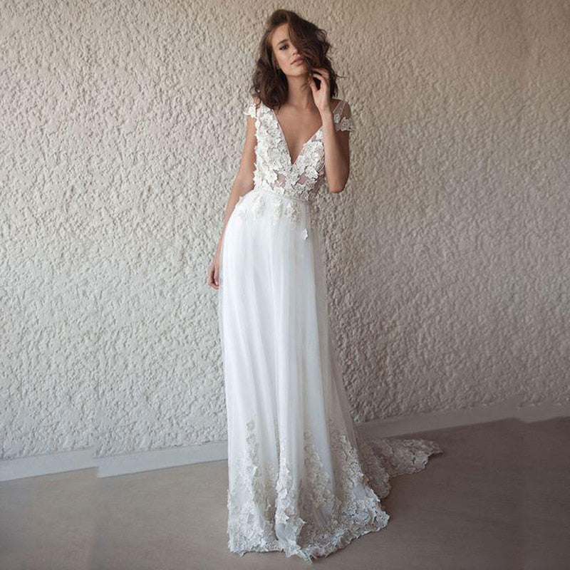 30aad9fac0ed LORIE Sexy Wedding Dress Boho Long Backless White Beach Wedding Dress  Appliques Lace V Neck Princess. Hover to zoom ...