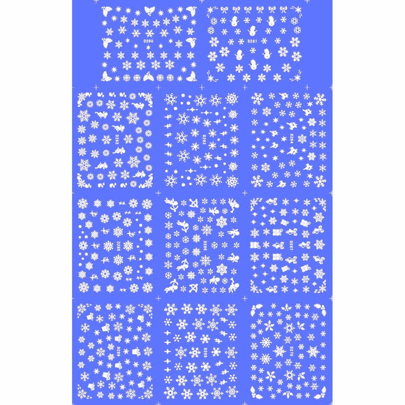 11 PACK/ LOT  WATER TRANSFER DECAL NAIL ART NAIL STICKER WHITE XMAS CHRISTMAS SNOW FLAKE D260-270W