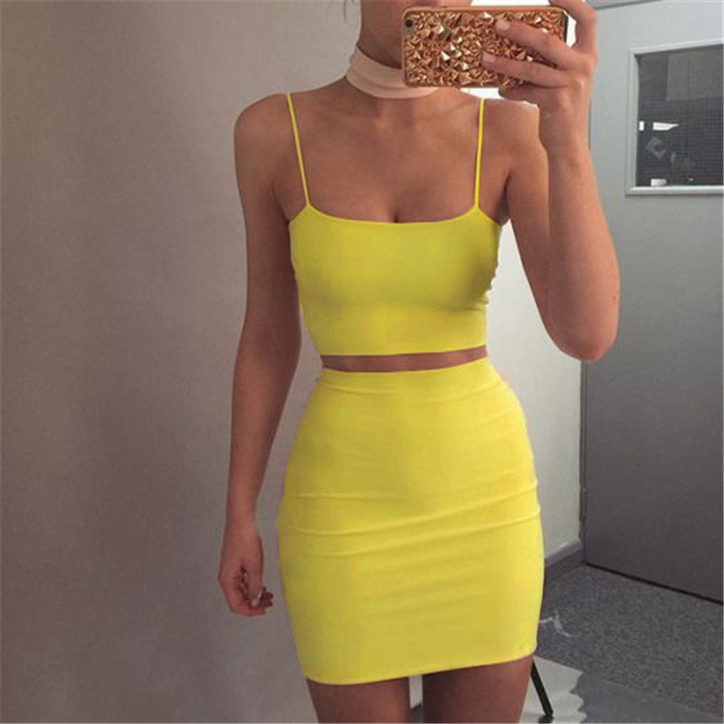eb01458478b3a Kasimur women sets Yellow mini skirts crop tops two pieces set suits Kylie  Jenner matching sets