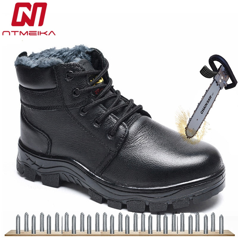 b75b4a0be641 Big Size 37-46 Men Winter Safety Shoes Steel Toe Genuine Leather Work Shoes  Men