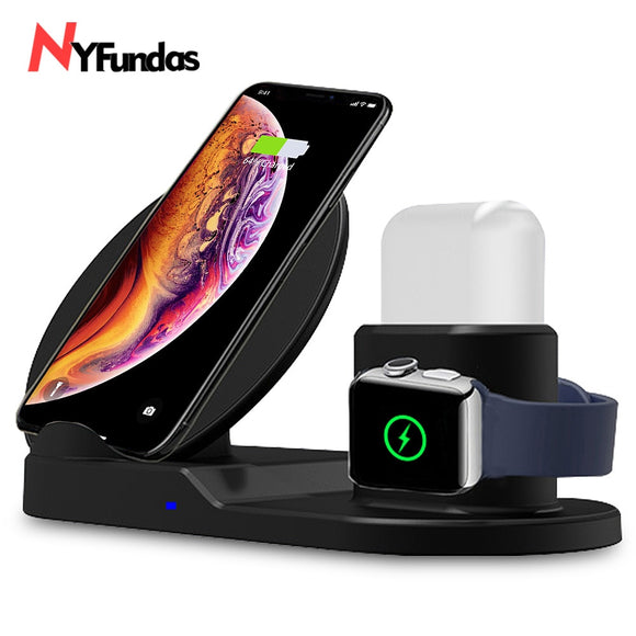 NYFundas wireless charger 3 in 1 Charging Stand for Apple Watch AirPods Station Stock Holder for iPhone XS MAX Apple Watch 2 3 4