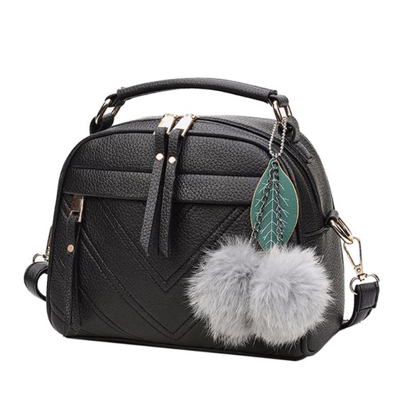 Stylish Women Handbag PU Leather Cute Mini Messenger Shoulder Bags With Ball Toy Bolsa Feminine Female Party Shopping Handbags