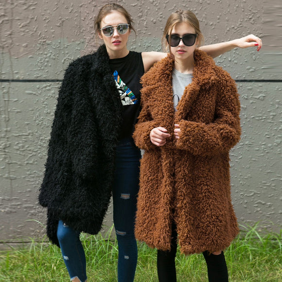NEW Women Fur Coat 2018 Winter Fluffy Shaggy Faux Long Fur Coat Fashion Thick Warm Jacket Black/Brown Plus Size 3XL Outwear Pele
