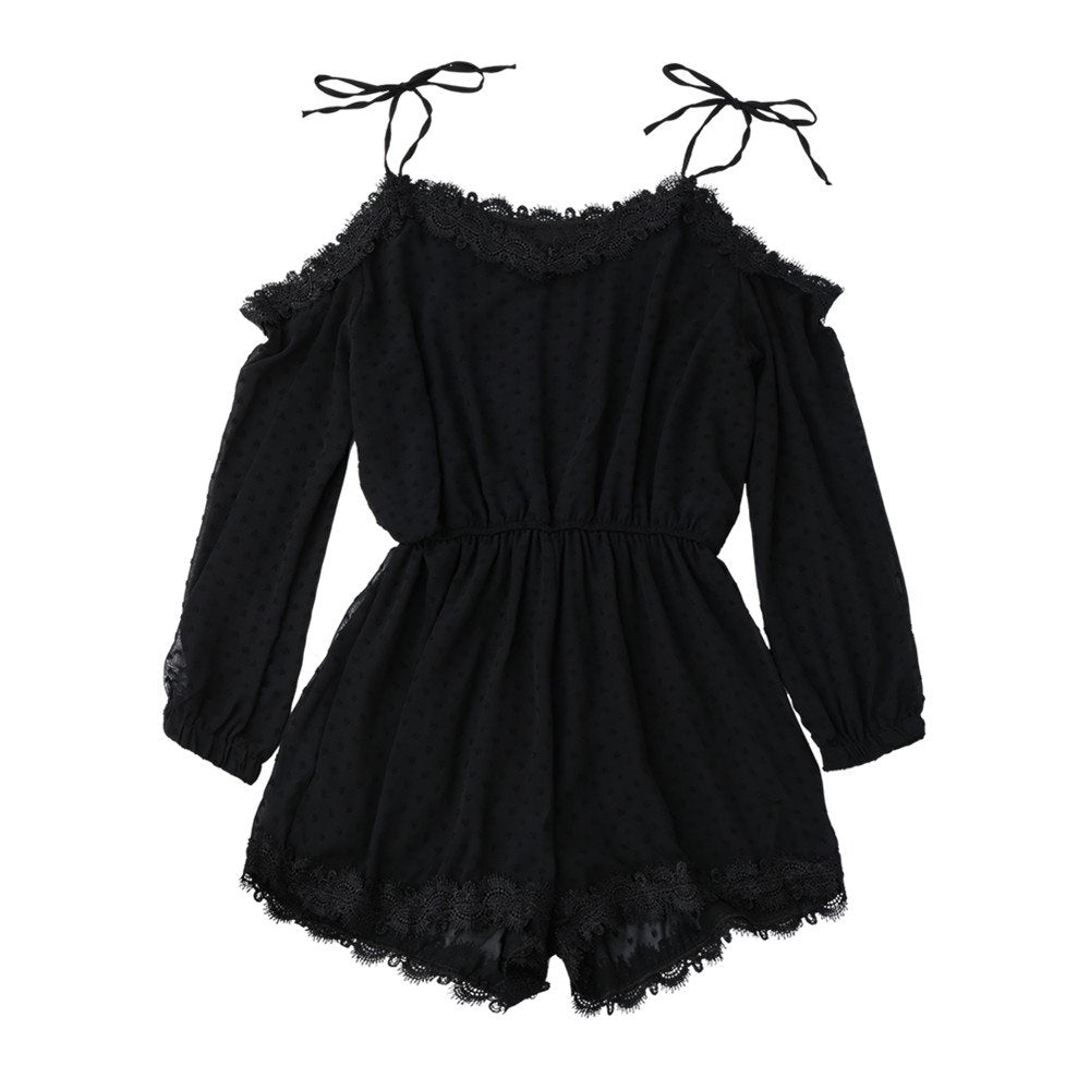 d969689a2a ... Kenancy Women Tie Shoulder Lace Trim Rompers Long Sleeves Cut Out Tunic  Playsuits Summer Spring Jumpsuits ...