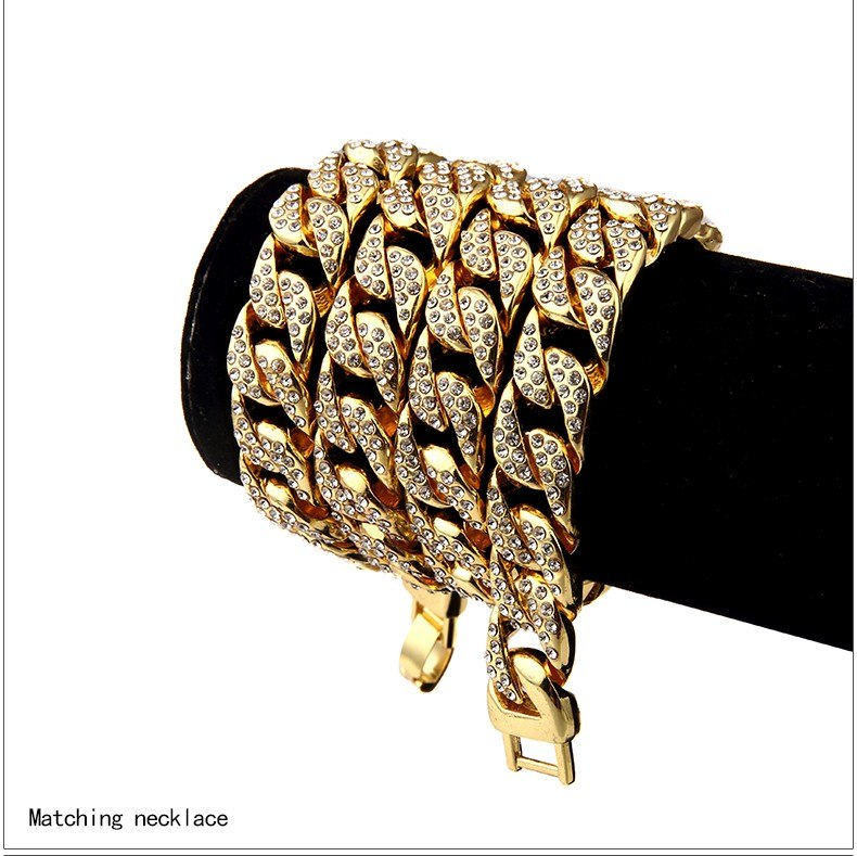 UWIN 15mm Iced Out Men s Miami Cuban Link Chain Necklace Gold Silver Bling  Fully Rhinestone Hip 5649e0a2e3d9