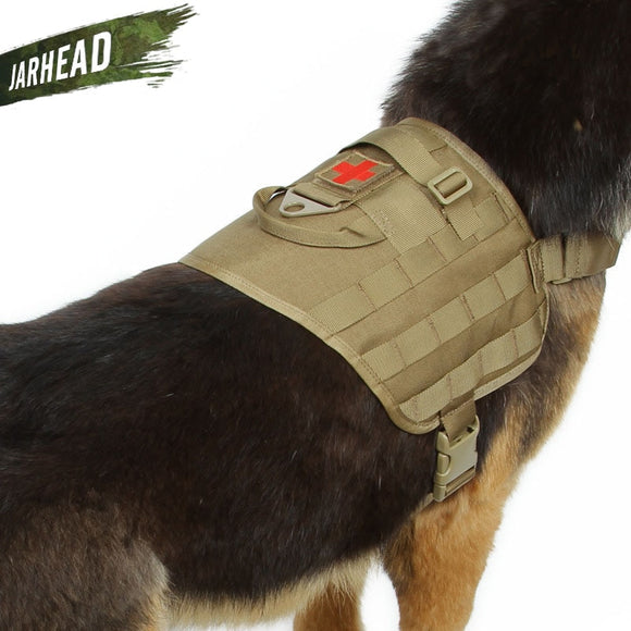 Military Tactical Dog Harness Modular Vest For Walking Hiking Hunting Water-Resistant Molle