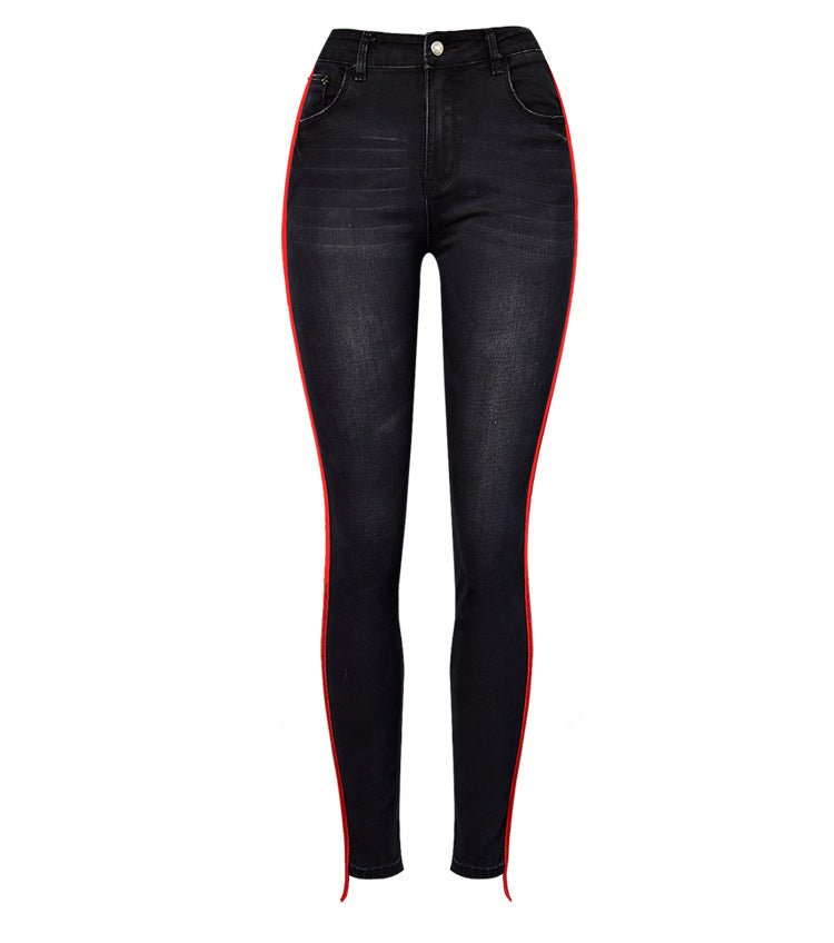 f000fde6153 Black High Waisted Jeans With Stripes Women Skinny Jeans For Woman Plu –  Zodeys