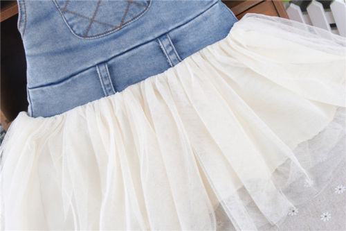 ef5b3710b85 Kids Baby Girls Clothes Summers Denim Tutu Sleeveless Sling Dress Overalls  Outfits 6M-4Y
