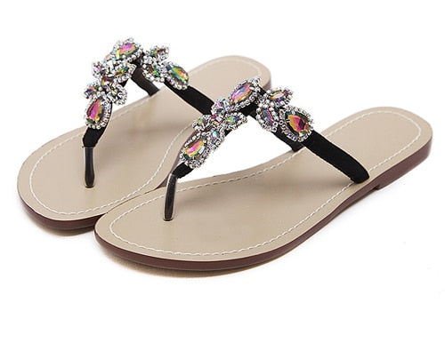 459ccc5caa9333 Eilyken Leisure Woman Sandals Slippers Shoes Rhine stones Crystal Chai