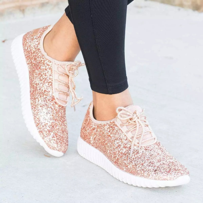 1aa25ac1752 Silver Casual Shoes Woman Gold Glitter Sneakers Shoes Trainers Summer Women  Sparkly Shoes Lace Up Ladies