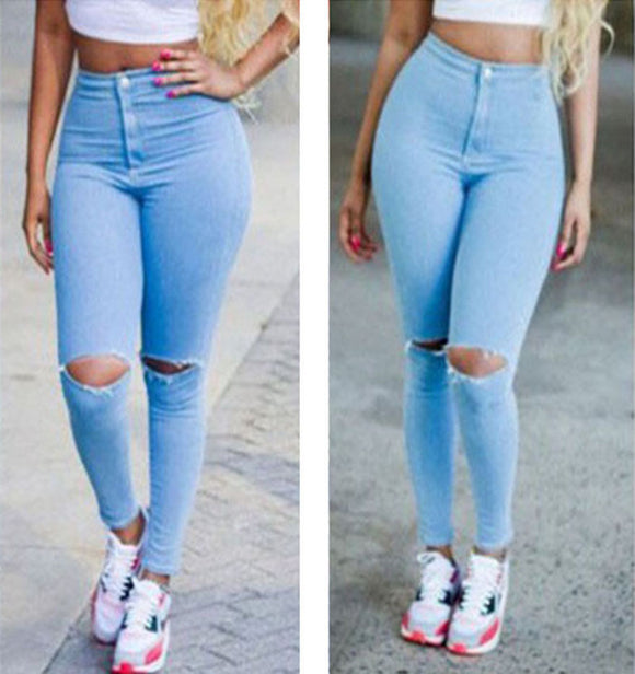 New Fashion Light Blue Denim Slim Skinny Hole Jeans Women Stretch Ripped High Waist Jeans Pencil Pants Size S-XL