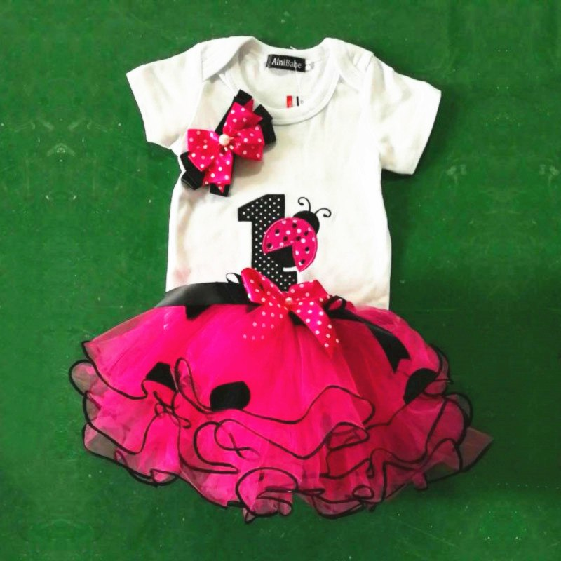 Fancy Baby Girl Ladybug 1st Birthday Party Dress Outfit Tutu Cake Smash Toddler  Girls Kids Summer 7b102e10eccf