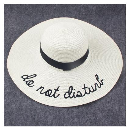 ee38d2825bc ... 2018 Letter Embroidery Cap Big Brim Ladies Summer Straw Hat Youth Hats  For Women Shade sun ...