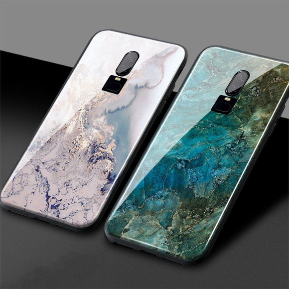 One Plus 6 Marble phone cover one plus 6 Jade pattern 1+6 Glossy Tempered Glass back cover Phone Case Shell For OnePlus 6