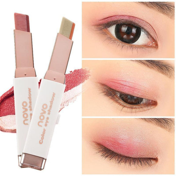 NOVO Two Tone Gradient Velvet Korean Style Eye Makeup Cream Shadow Stick Sleek Waterproof Nude Shimmer Metallic Eyeshadow Pencil