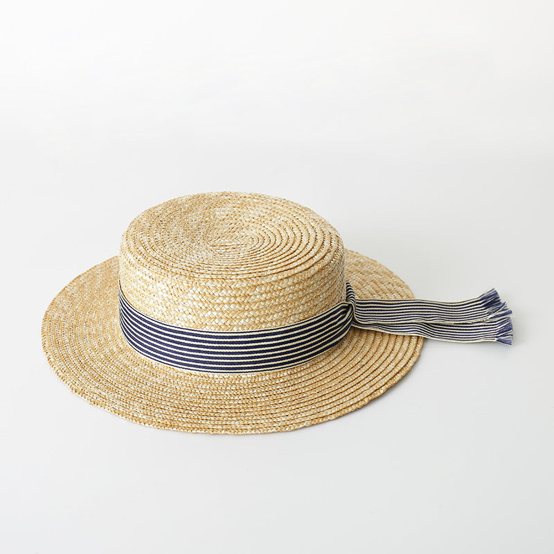 Boater Hat Women Summer Sun Hat Fine Straw Hats 2018 Fashion Top Quality Ladies  Hats 681004 85c676836dd9