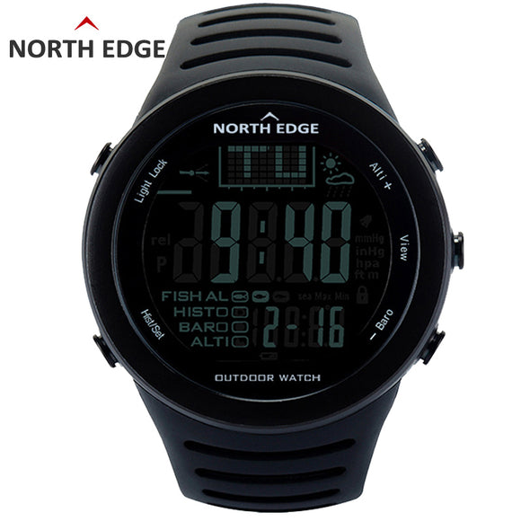 NORTH EDGE Fishing Altimeter Barometer Thermometer Altitude Men Smart Digital Watches Sports Climbing Hiking Clock Montre Homme-Watches-Zodeys-720 BLK-Zodeys