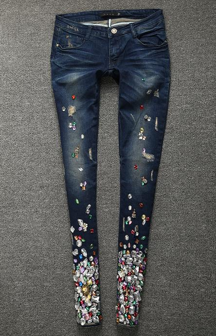 New Ripped Women Jeans Skinny Denim Diamonds Rhinestones Jeans With Ho –  Zodeys 2be9bd0823ec