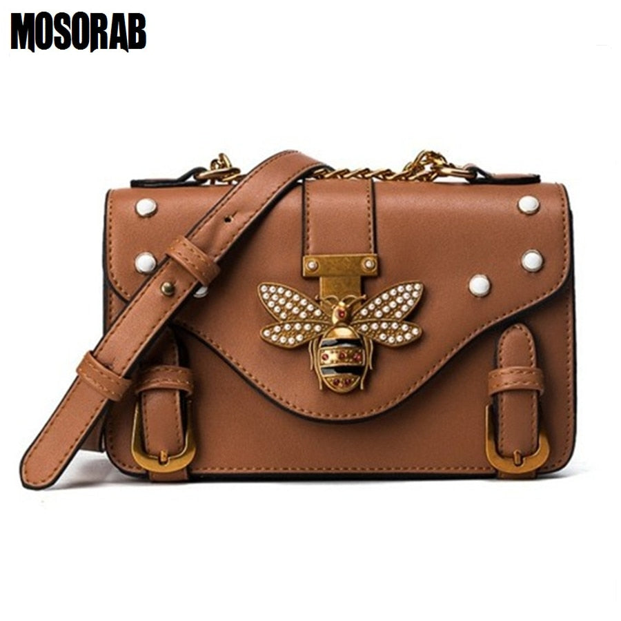 60d0806f1071 MOSORAB Crossbody Bag For Women Leather Luxury Handbag Bee Clutch Purse  Women Bag Designer Shoulder Bag ...