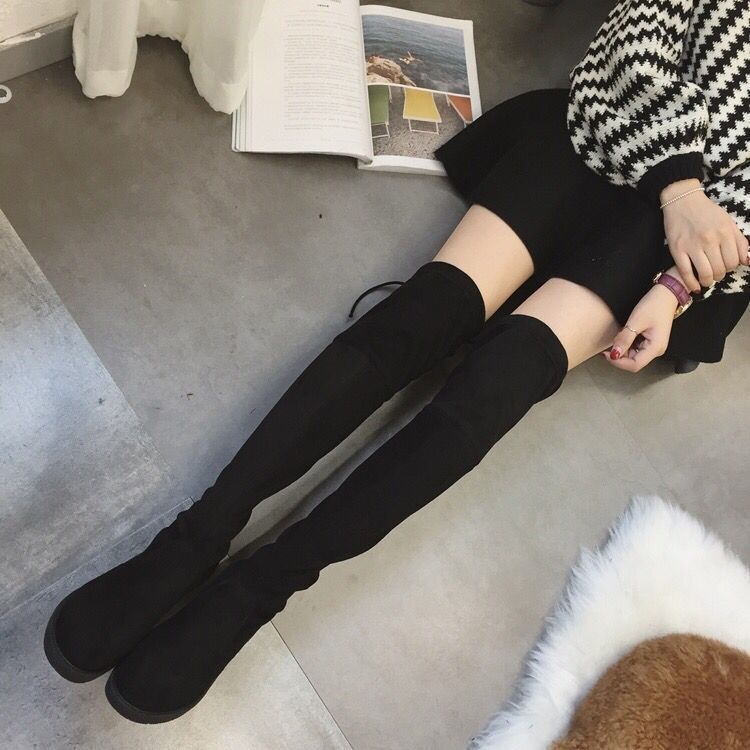 c0fa276c1bc Thigh High Boots Female Winter Boots Women Over The Knee Boots Flat Stretch  Sexy Fashion Shoes