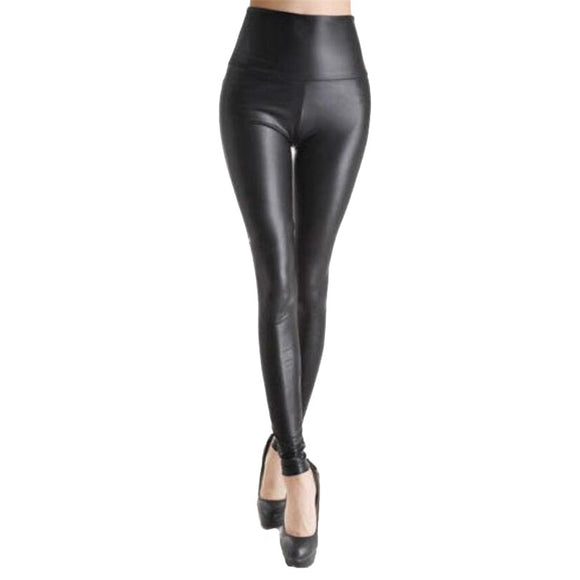 NDUCJSI Fashion Women PU Leather Pants High Elastic Waist Leggings Slim Leather Leggings Skinny Trousers Women Black Legging