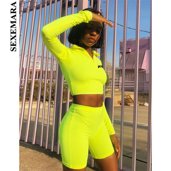 SEXEMARA Fluorescent Sexy 2 Piece Set Women Tracksuit Long Sleeve Crop Top and Biker Shorts Matching Sets Sweatsuit C70-AE96
