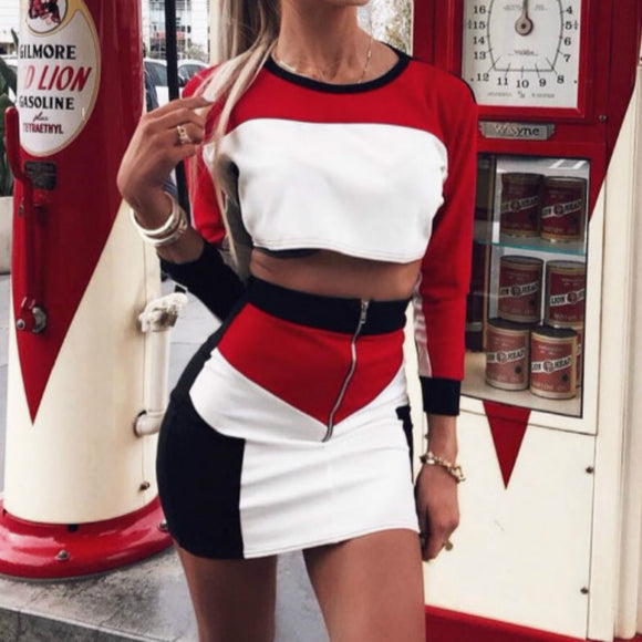 2pcs Sexy Women Long Sleeve Crop Tops + Mini Skirt Set Clubwear