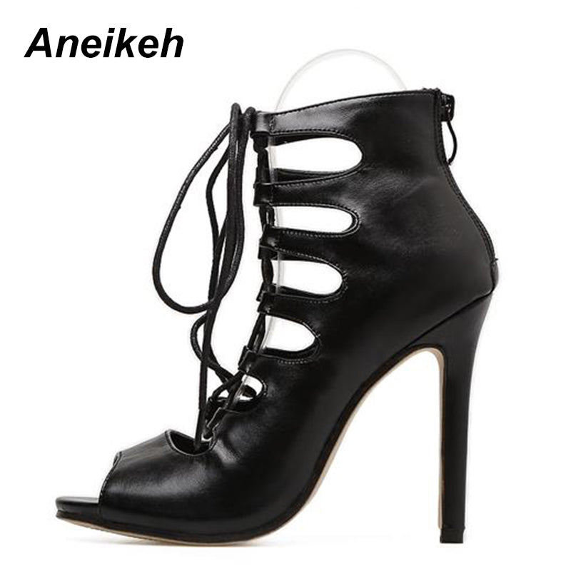 f468b77bcae Aneikeh Roman Cross-Strap Shoes Women Sandals Sexy Gladiator Lace Up Open  Toe Sandals Thin