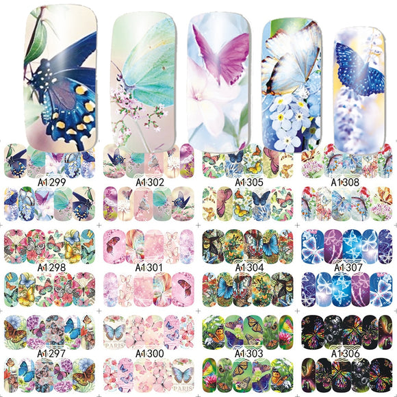 12 Designs/Set Beauty Butterfly Mixed Designs Full Water Transfer Stickers Nail Art Decal Sticker Nail Accessories SAA1297-1308-Zodeys-Zodeys