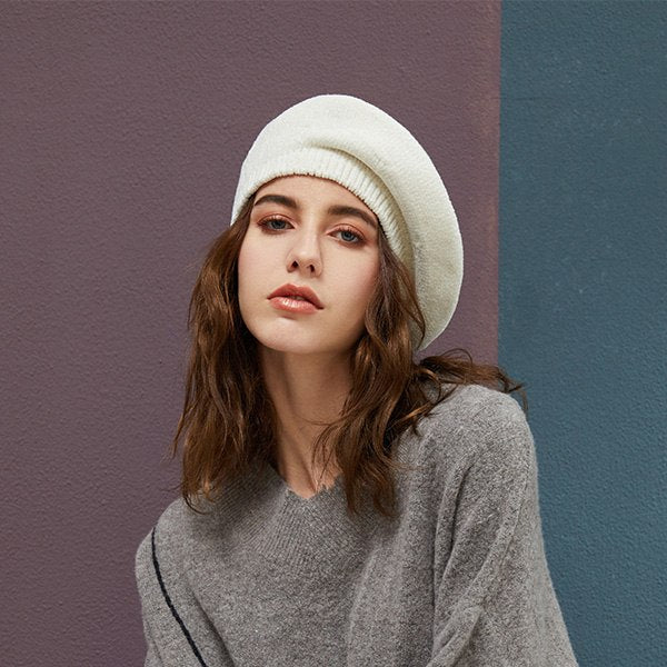 b23b5e221aa ... 2018 New Stylish Berets Chenille Material Winter Berets For Women Warm  Knitted Hat Female Autumn Painter