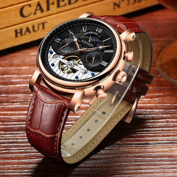KINYUED Automatic Skeleton Watches Moon Phase Mens Tourbillon Mechanical Watch Military Calendar horloges mannen montre homme