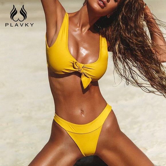 PLAVKY 2018 Sexy Retro Solid Front Bow Knot Tie Biquini Bathing Suit High Cut Swimsuit Thong Swimwear Women Brazilian Bikini