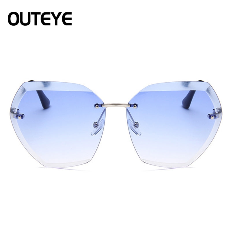 9ee2f7d9e18 Fashion Sunglasses Women Rimless Square Sun Glasses Designer Hexagon S