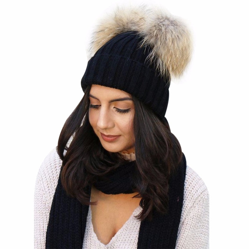 2018 Winter Warm Hats For Women Wool Knitted Beanies Caps Female Double Fur Pompom  Hat Gorro c03ee145d432