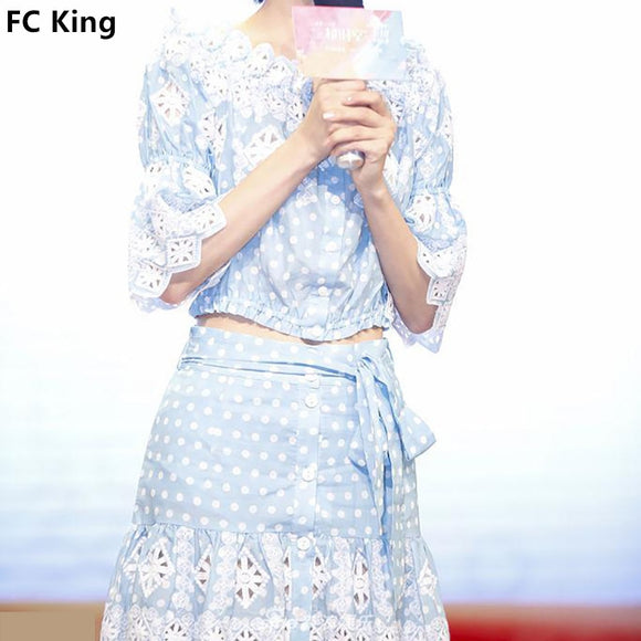 FC King 2018 Summer Blue Polka Dot Women Sets Embroidery Hollow Out Lace Flare Sleeve Half Top and Drawstring Bow Mini Skirts