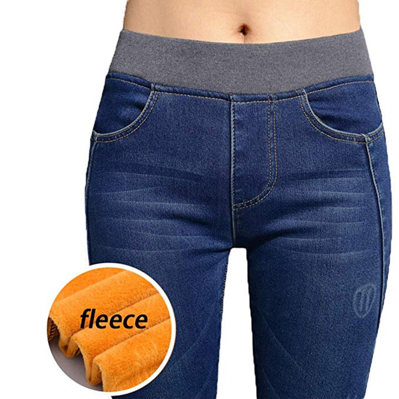 ee1cc77bd85 Womens Winter Jeans High Waist Skinny Pants Fleece Lined Elastic Waist  Jeggings Casual Plus Size Jeans