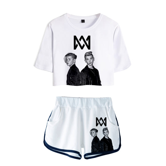 Frdun Tommy 2018 Women Two Piece Set Marcus & Martinus Tracksuit Women Top and Shorts Outfits Set Girl Fans Marcus Martinus Suit