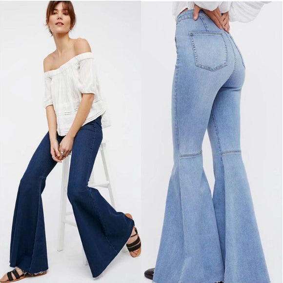 Vintage Bell Bottom Jeans Long High Waisted Flare Jeans Stretch Wide Leg Distressed Jeans Women Curvy Mom Denim Shaping Pantalon