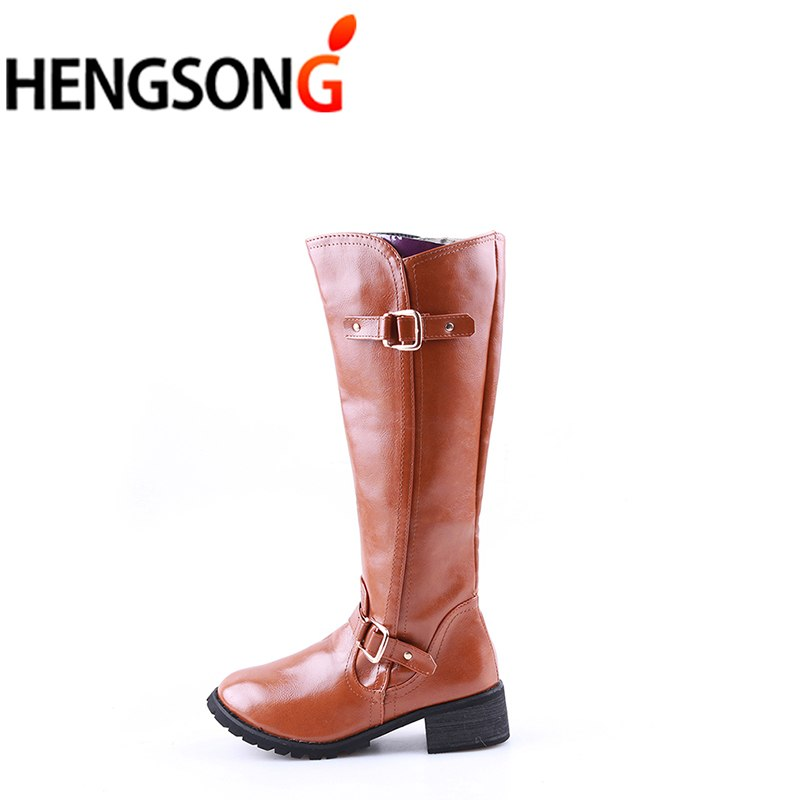 02ea5df551e4 Fashion Women Boots Lace-Up Riding Motorcycle Boots Low Heel Knee High Boots  Buckle Side