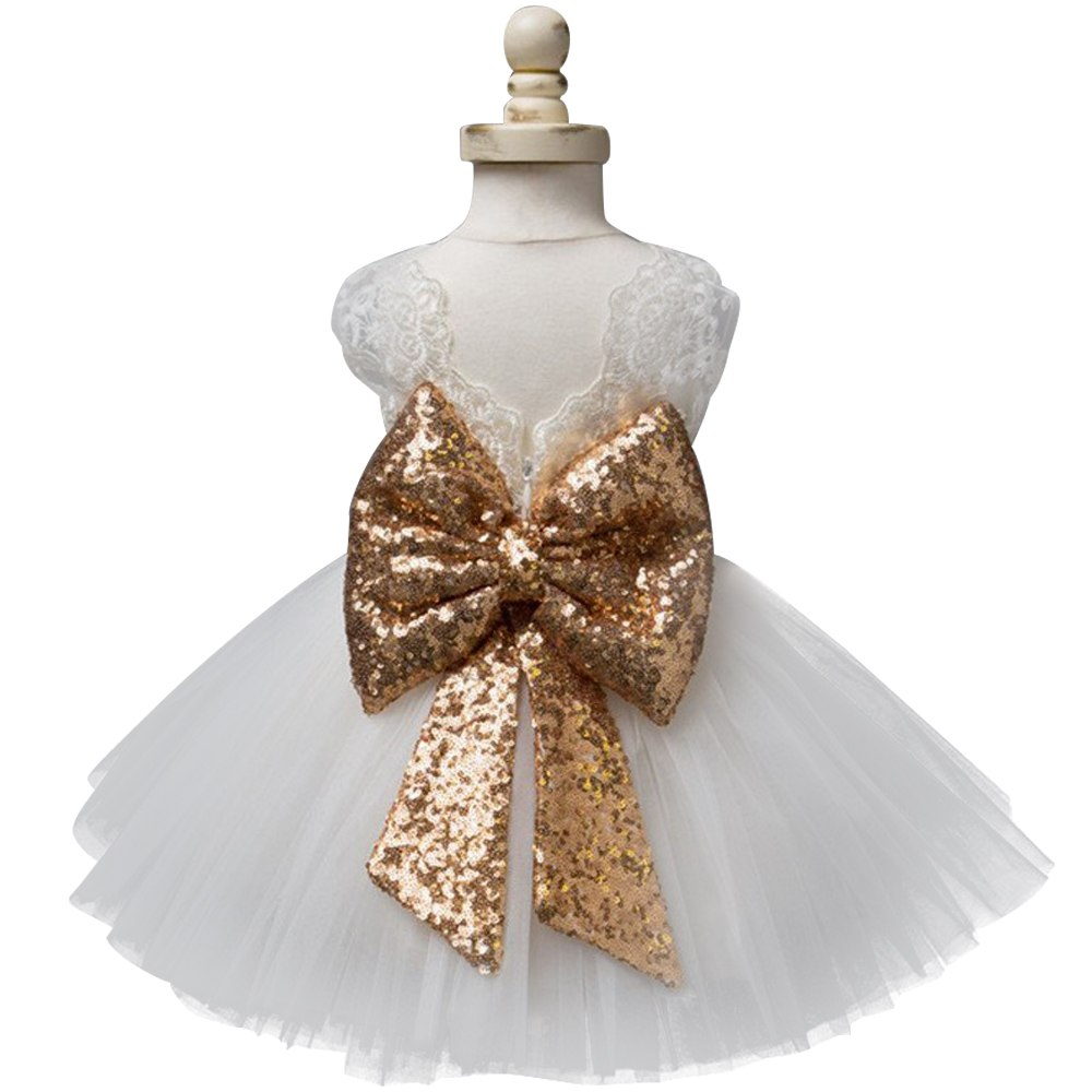 b705a3ed653d1 Baby Frock Designs Lace Christening Gown Gold Bow Baby Girl 1 Year First  Birthday Outfit Toddler