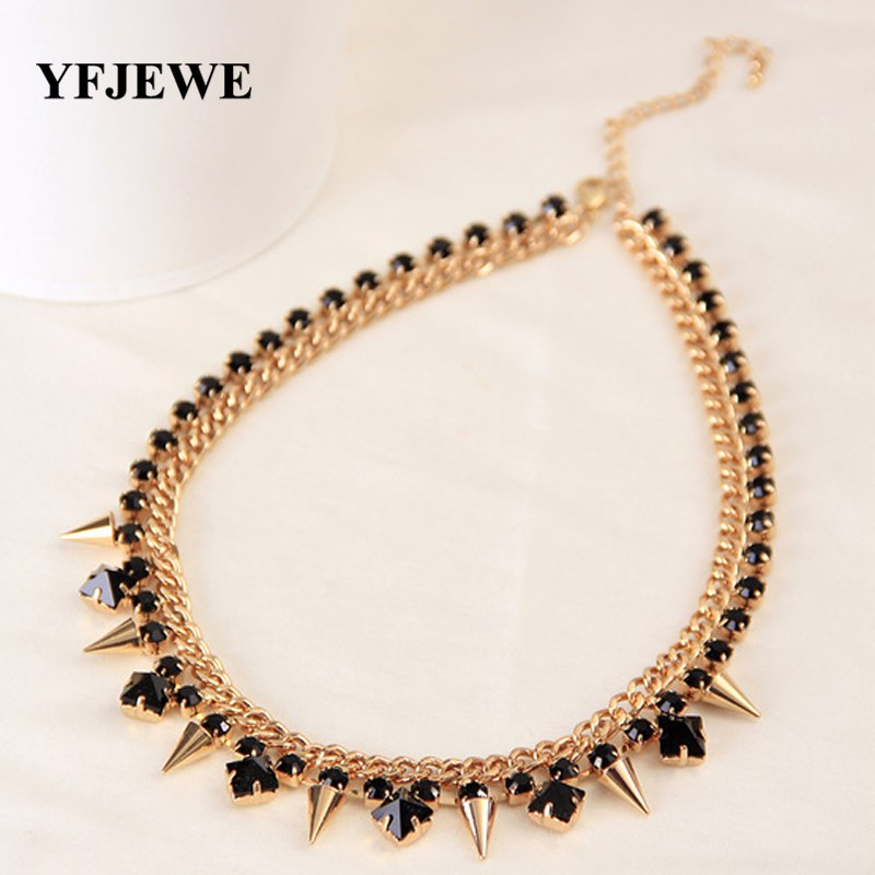 YFJEWE The New Style Fashion Jewelry for women black rhinstone crystal Gold  Color Necklace chain rivets f8572610a5c8